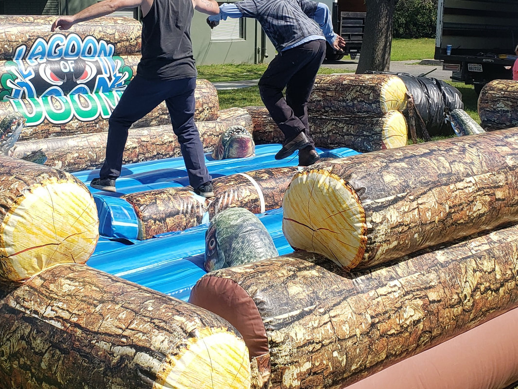 Lagoon of Doom Log Roll Inflatable Interactive Challenge